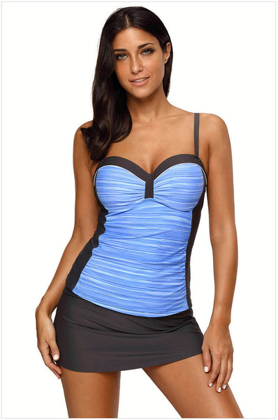 Strap Underwire Two Piece Swimsuit Top and Pantyskirt