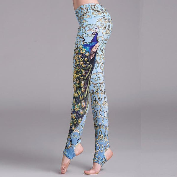 2019 Peacock Stirrup Yoga Leggings With Hiney Trainer™