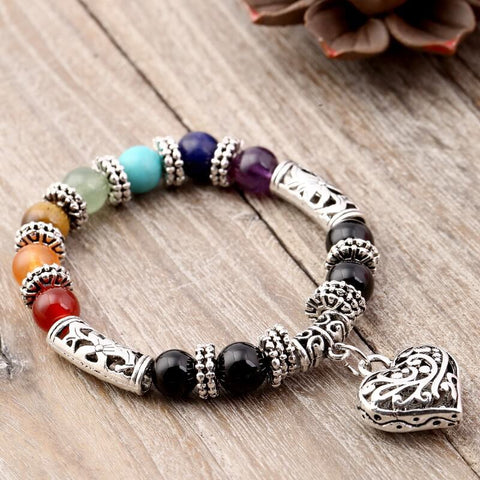 7 Chakra Beads Heart Charm Bracelet For women