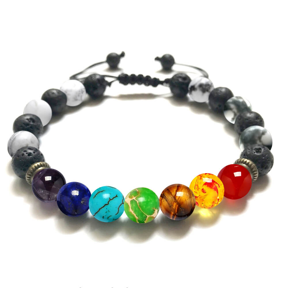 7 Chakra Multi color Beads Stones Women Men Bracelet