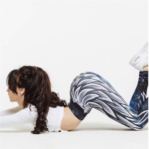 Wing Print Leggings Push Up Cartoon 3D Graffiti