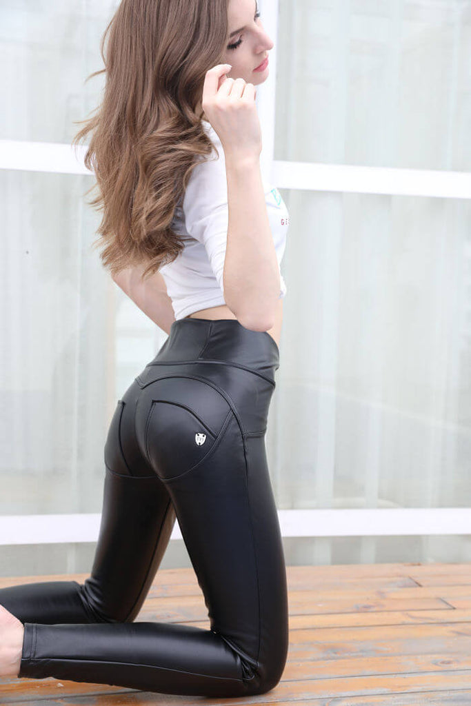 High Waist Eco-Leather With A Built-in Tush Push up Trainer X Edition™