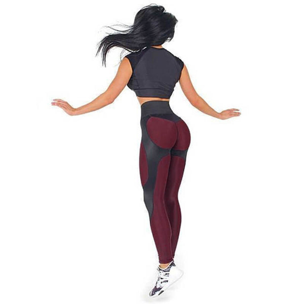 High Elastic Workout Patchwork PU Leather Leggings