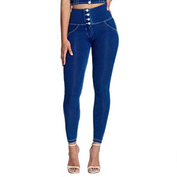 Buttons High Waist Denim - Dark Blue Lifts & Supports - White Stitching