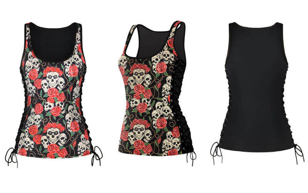 3D Skull Print Sleeveless Fitness Shirt