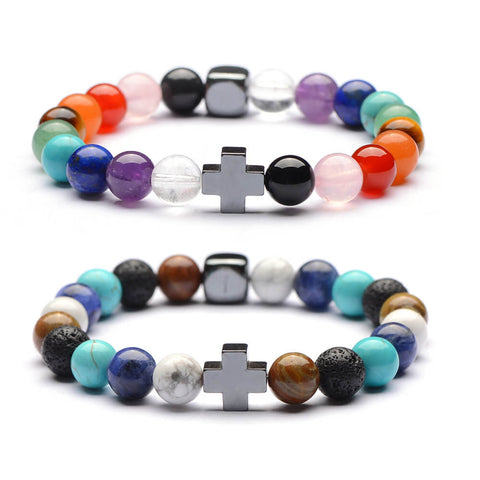 Multi color Chakra Women Yoga Natural Stones Bracelets