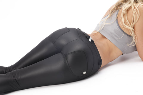 2019 Low/High Waist Black-Matte Eco-Leather Pants With A Built-in Tush Trainer X Edition™ Lifts & Supports