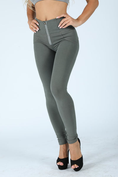 Knitted High Waisted Olive Pants With Built-in Super Hiney Trainer X™