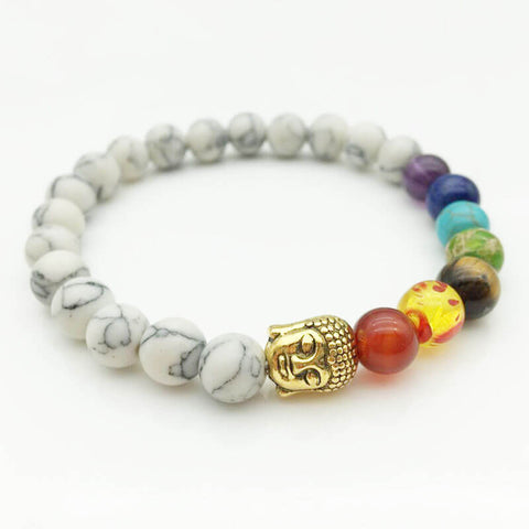 7 Chakra Buddha head White Beads Women Bracelets