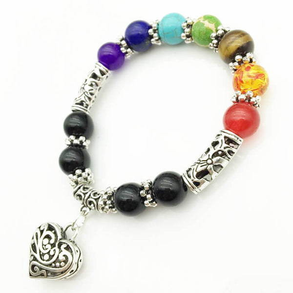 7 Chakra Multi color Stone Brown Women  Bracelet