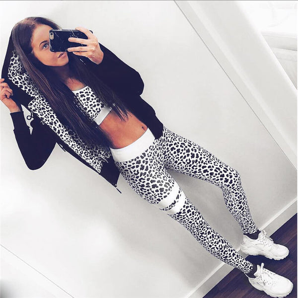 Fashion 2 Pieces Leopard Printed Tracksuit