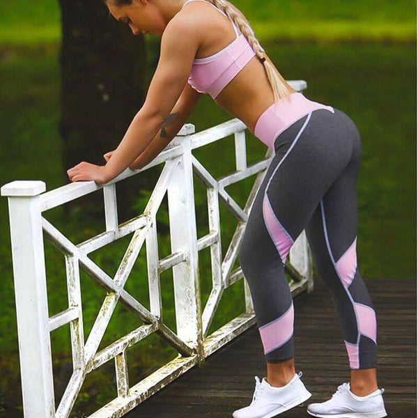 Gray & Pink Patchwork Heart Hip Leggings