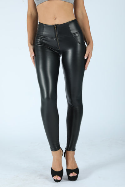 2020 Mid/High Waist Shiny Black Eco-Leather Lifts &Supports - Flattering Fit