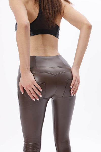 2019 Low/High Waist Dark Brown Color Eco-Leather Pants With A Built-in Tush Trainer X Edition™ Lifts & Supports