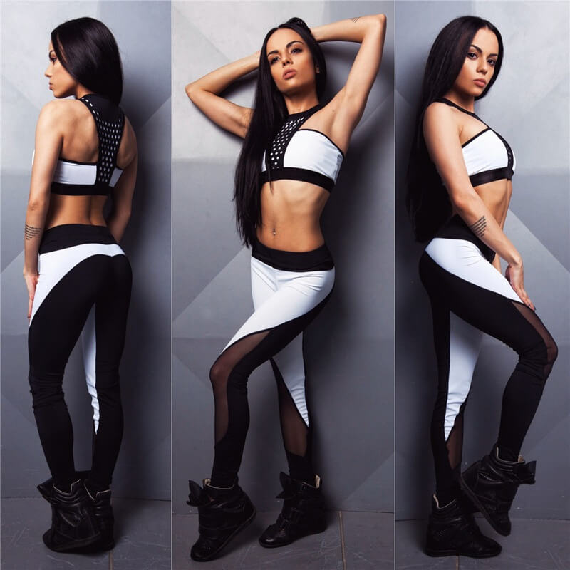 Fashion Black And White Women's Tracksuit