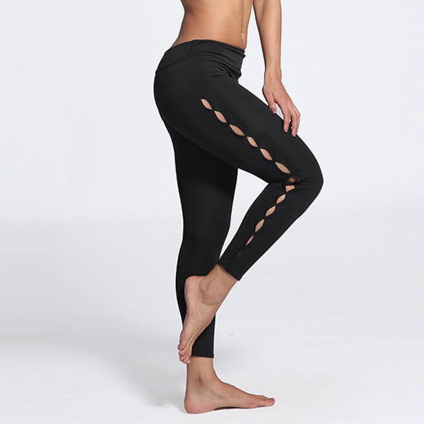 Plus Size Women Elastic Legging Side Hole Design