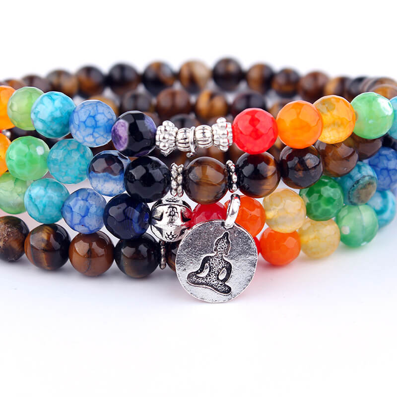 7 Chakra lotus Tree Charm Bracelet Yoga stone Bracelet For Women Men
