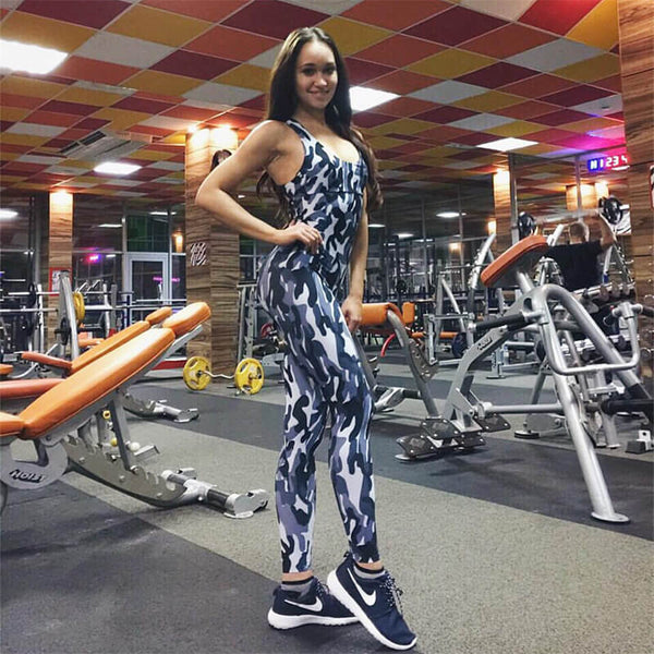 Sexy Backless Camouflage Push Up Workout Jumpsuit