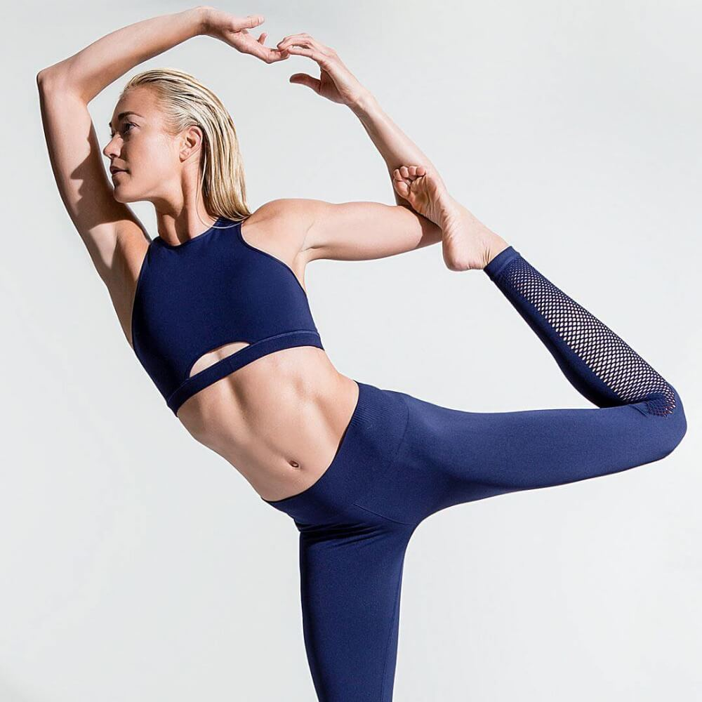 Runs & Fitness Glamour Blue Mesh Leggings