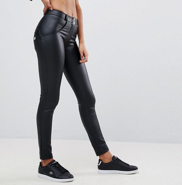 Mid Waist Eco-Leather With Built-in Hiney Trainer X™ Lifts & Supports For A Flattering Fit!
