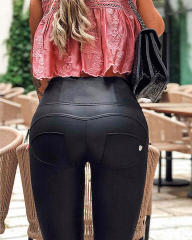 2020 Mid/High Waist Black-Matte Eco-Leather Pants Lifts & Supports