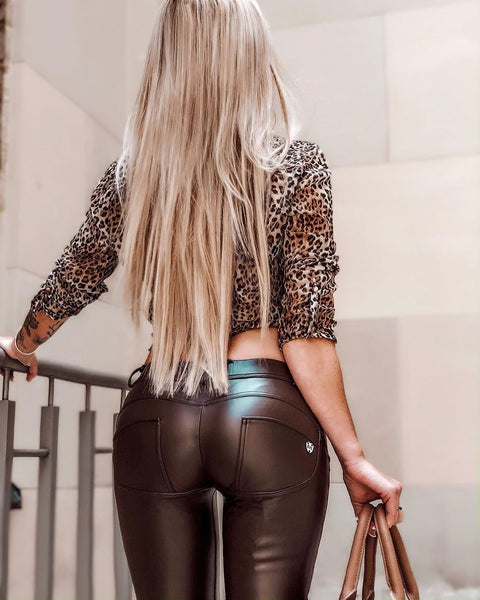 2020 Mid/High Waist Brown Color Eco-Leather Pants Lifts & Supports