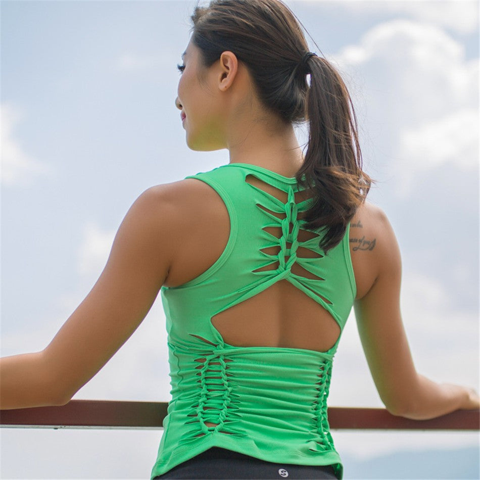 Cut Out Yoga Tank Top With Built-in Bra Active Workout