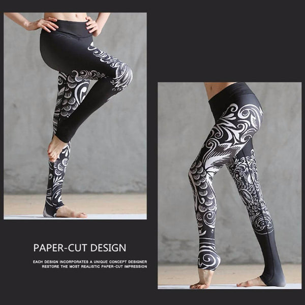 Mid Waist Clouds Printed Workout Leggings