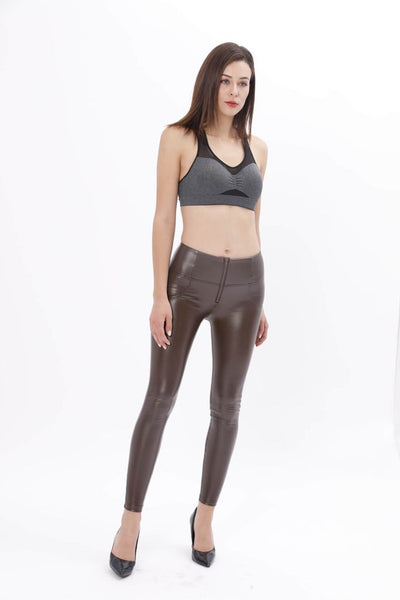 2019 Mid/High Waist Brown Color Eco-Leather Pants Lifts & Supports