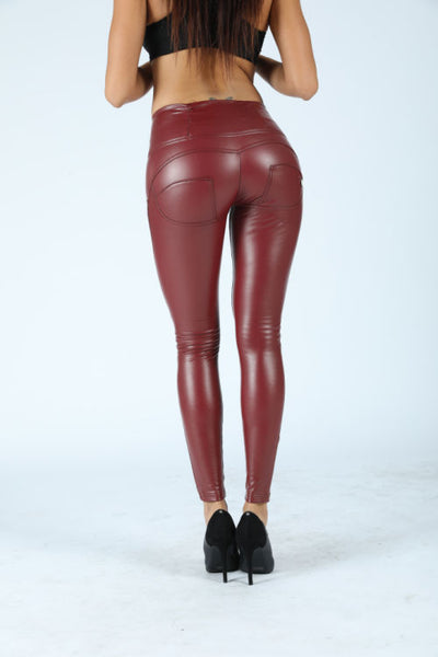 2020 Mid/High Waist Red Color Eco-Leather Pants Lifts & Supports
