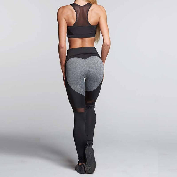 Black/Gray Heart-Mesh Leggings