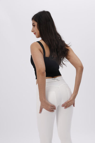 White Knitted Mid Waist Pants With Built-in Super Hiney Trainer X™