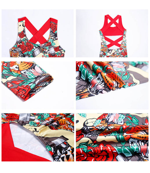 Women Floral Fitness Backless Yoga Workout Jumpsuit