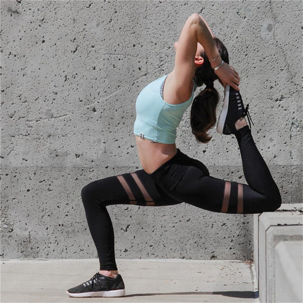 2019 Circle Shape Mesh Panels High Waist Yoga Leggings