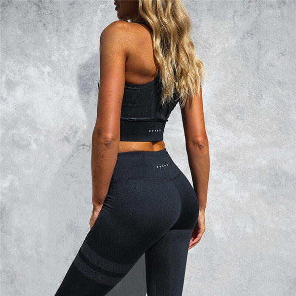 Women's Fitness Sets Tank Top And Stripe Leggings - Two Pieces Set