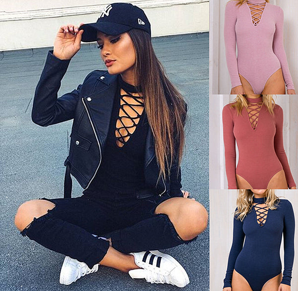 Sexy Lace Up Cap Sleeves Bodysuit Clubwear Tops - 2019 Limited