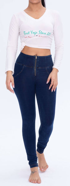 2020 High Waist Denim Jeans Lifts & Supports - Dark & Light Blue