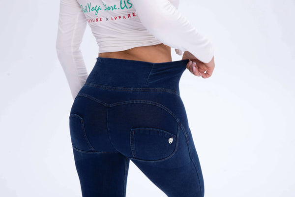 2019 High Waisted Dark Blue Denim Jeans With Built-in Hiney Trainer X™
