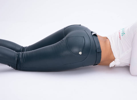 2019 Low/High Waist Blue Color Eco-Leather Pants With A Built-in Tush Trainer X Edition™ Lifts &Supports