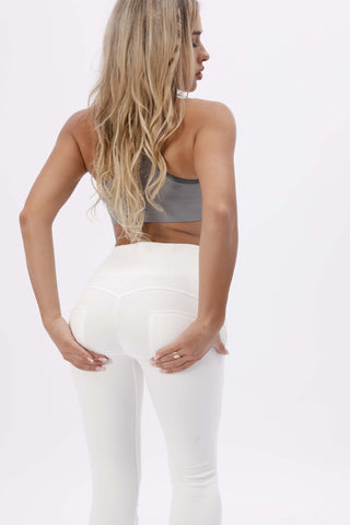 2020 High Waisted White Denim Jeans With Built-in Hiney Trainer X™ Lifts & Supports