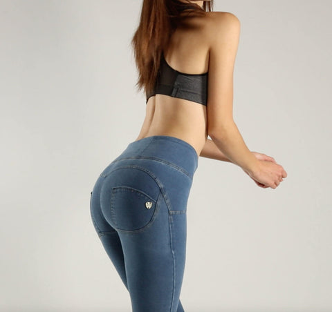 2019 High Waist Denim Jeans Lifts & Supports - Dark & Light Blue