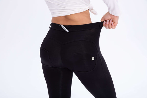 2019 Black Cotton Mid/High Waist Pants With Built-in Super Hiney Trainer X™