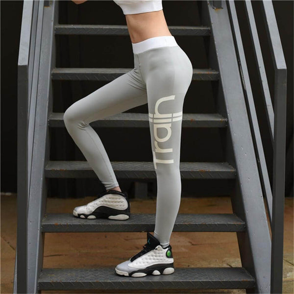 Grey Letter Activewear High Rise Workout / Yoga Leggings Hiney Trainer™