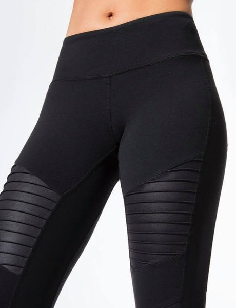 2019 Moto Design Leather-like Varnish Mesh Panels Leggings Hiney Trainer™