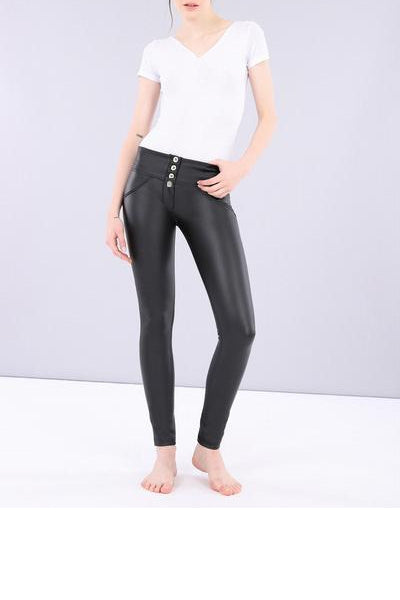 Front Buttons High Waist Eco-Leather Pants  Lifts &Supports