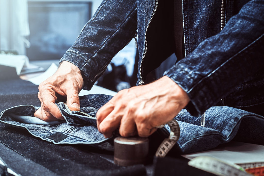 fashion designer working with denim and jeans