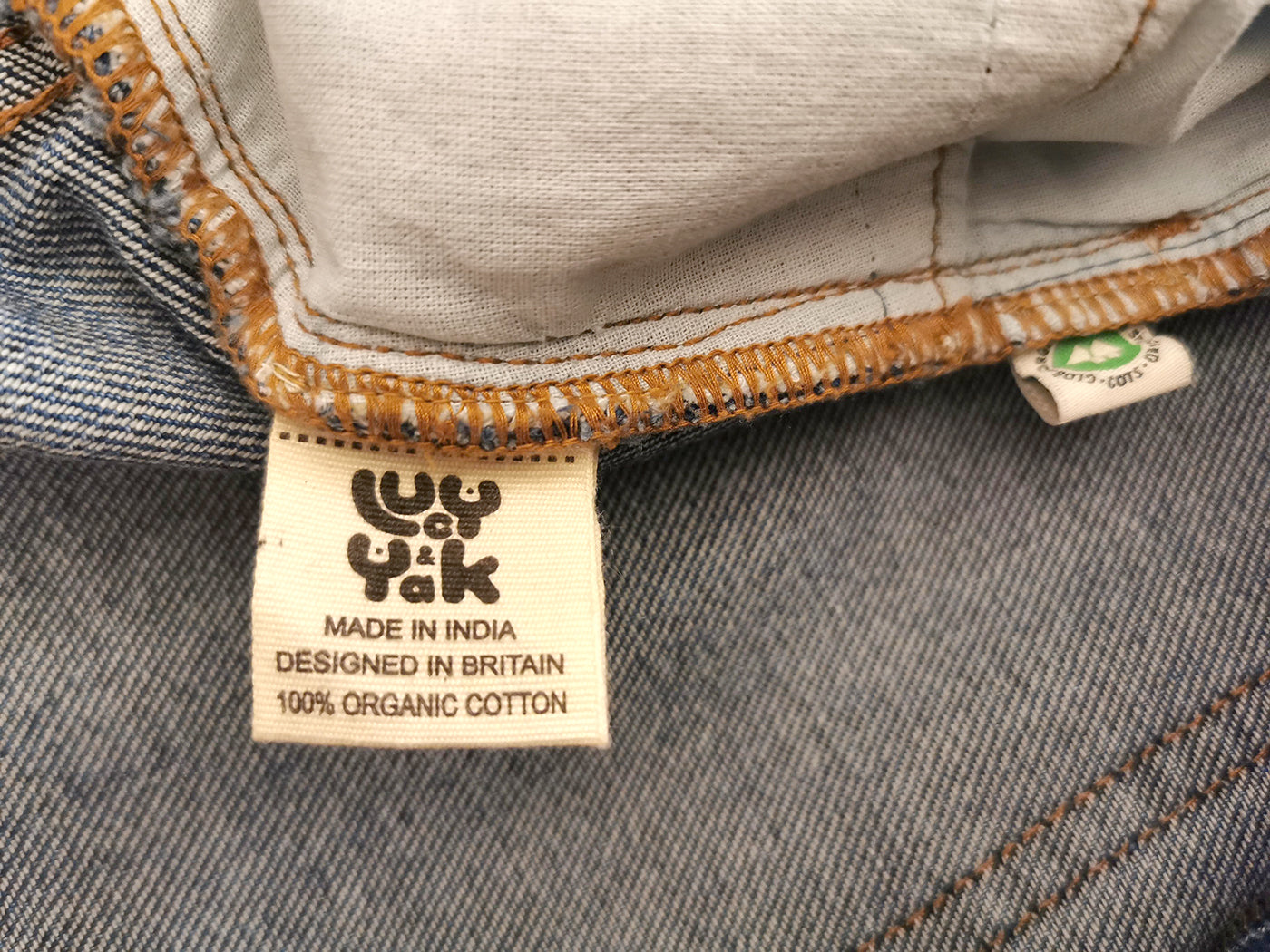 Sustainable organic cotton denim jeans