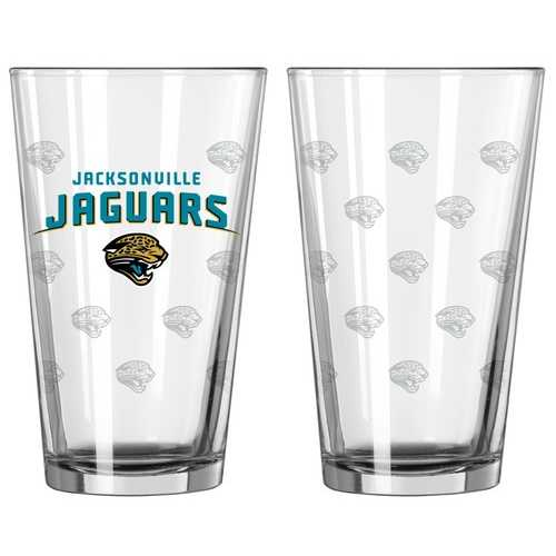 Jacksonville Jaguars Glass Pint Satin Etch 2 Piece Set Special Order