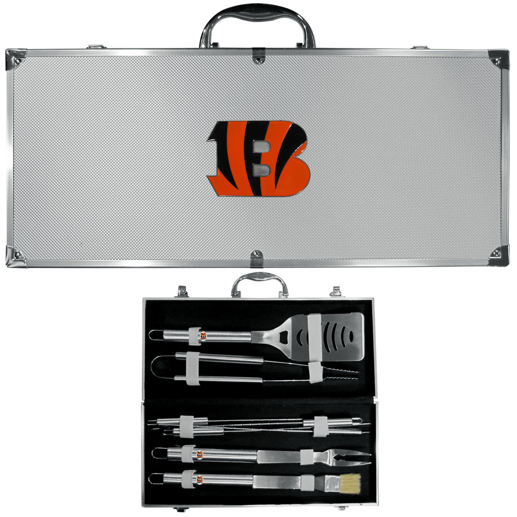 Cincinnati Bengals 8 pc Stainless Steel BBQ Set w/Metal Case - X MAX SPORTS