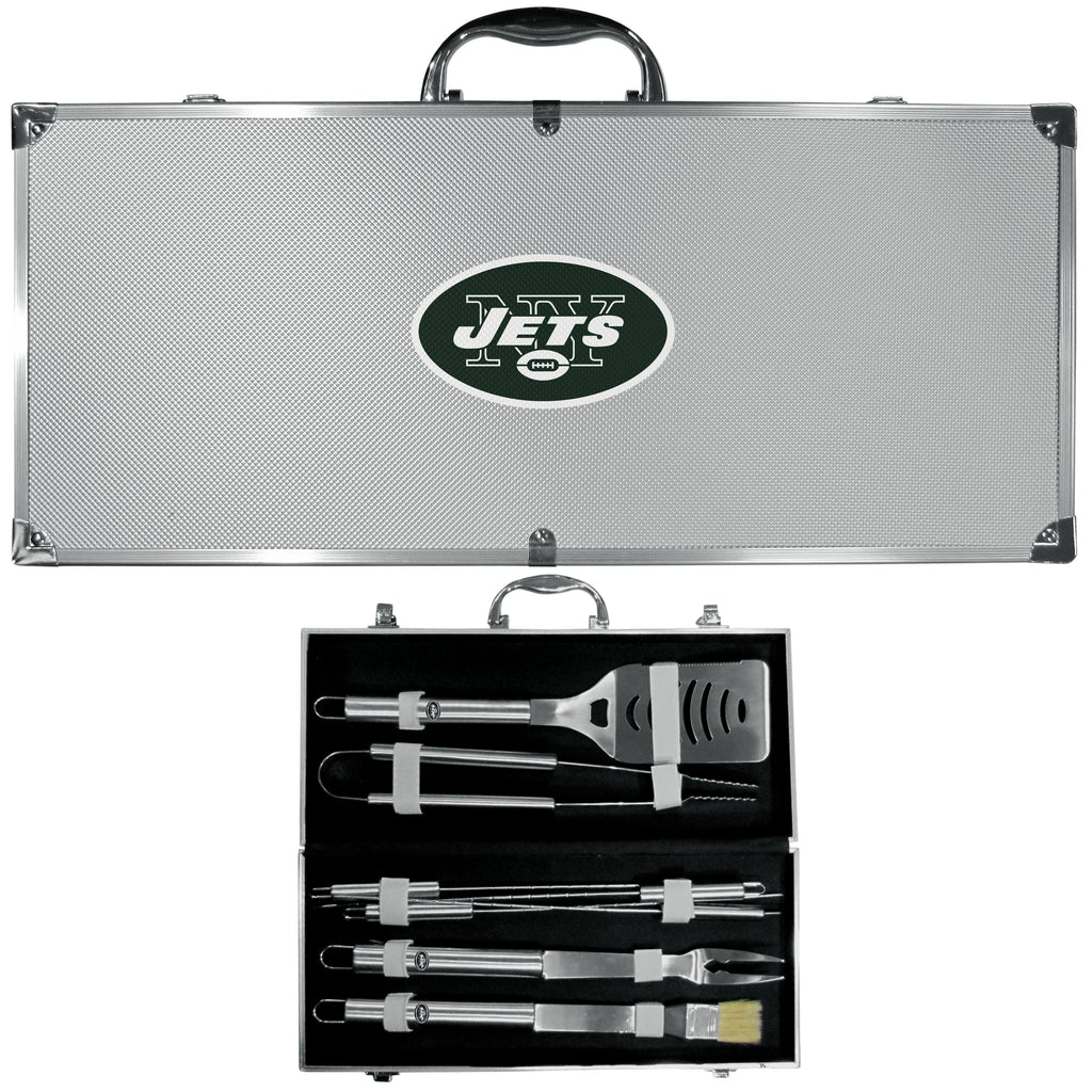 New York Jets 8 pc Stainless Steel BBQ Set w/Metal Case - X MAX SPORTS